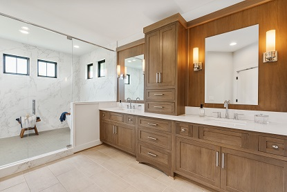 a photo of a bathroom representing the house plans for the Benjamin at 2019 Homearama in Kensington of Mason